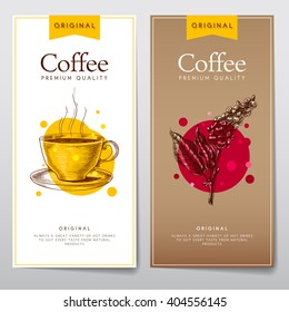 Vector set of menus for coffee. Coffee flyers for cafes or restaurants.