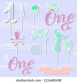 Vector set with Mermaid Crown, Sea Shell, One, ribbon. One handwritten lettering as patch, stick cake topper, laser cut plastic, wooden toppers. Props for First Year Baby Anniversary, Birthday party