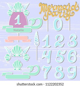 Vector set with Mermaid Party text, Sea Shell Crown, numbers. Mermaid Party lettering as patch, stick cake toppers, laser cut plastic, wooden toppers. Design elements for baby birth, Birthday party