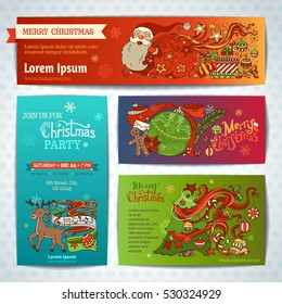 Vector set of Merry Christmas banners. Christmas decorations, Christmas tree and baubles, Santa with sack, gifts, deer with music notes, gingerbread man, candy cane, stars, hand-written lettering.