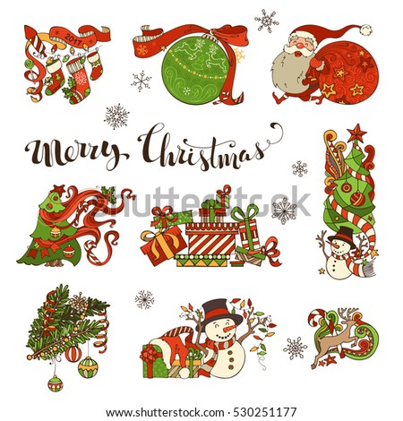 vector set of merry christmas decorations and design elements christmas tree and baubles santa