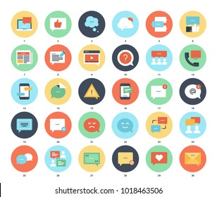 Vector set of message bubbles flat web icons. Each icon neatly designed on pixel perfect 48X48 size grid. Fully editable and easy to use.