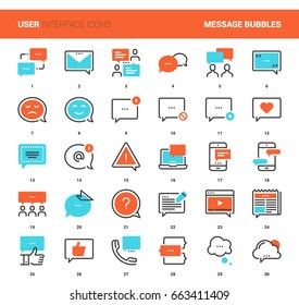 Vector set of message bubbles flat line web icons. Each icon with adjustable strokes neatly designed on pixel perfect 48X48 size grid. Fully editable and easy to use.