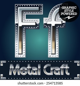 Vector set of metal aluminum alphabet with riveted border. Letter F