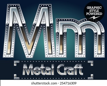 Vector set of metal aluminum alphabet with riveted border. Letter M