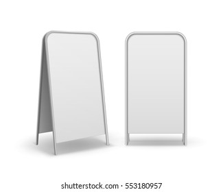 Vector Set of Metal Rectangular Empty Blank Advertising Street Handheld Sandwich Stands Sidewalk Signs Isolated on White Background