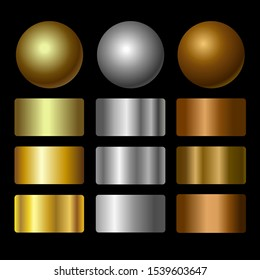 Vector set of metallic gold, silver, bronze gradients. Collection of colorful gradient illustrations for backgrounds, banner, coin, label, card, poster, ring.