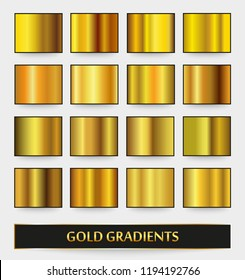 Vector set of metallic gradients.Collection of gold backgrounds.
