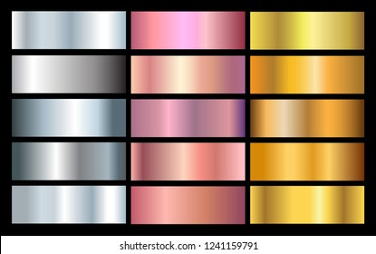 Vector set of metallic gradients.Gold,silver and rose texture set.