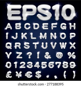 Vector set of metallic letters and numbers