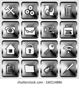 Vector Set of Metallic Square Buttons with Office Web Site Application Theme