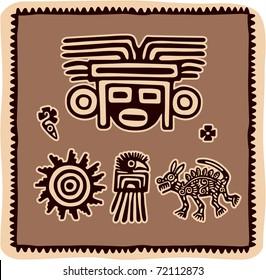 Vector Set of Mexican Design Elements (aztec, american indian)