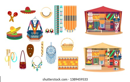 Vector set of Mexican handicrafts. Traditional souvenirs. Fabric and carpets store. Street shop. Sombrero hats, ponchos, maracas, dream catcher, mask, jewelry, mats.