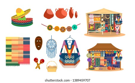 Vector set of Mexican handicrafts. Traditional souvenirs. Fabric and carpets store. Street shop. Sombrero hats, ponchos, maracas, dream catcher, mask, jewelry, mats, ceramics.