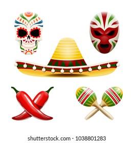 Vector set of mexican symbols such as sombrero, maracas, chili peppers, sugar skull calavera and wrestler mask.