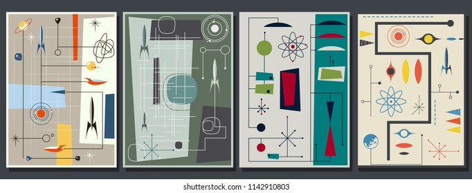 Vector Set of Mid Century Space Propaganda Posters Stylization