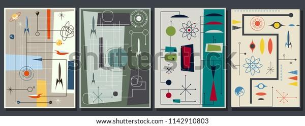 Vector Set of Mid Century Space Propaganda Posters Stylization
