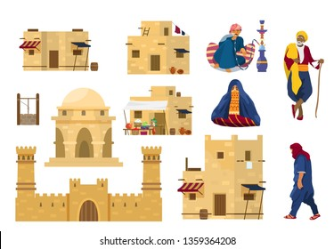 Vector set of Middle Eastern people and architecture elements. Old arab man with stick, man smoking hookah, veiled woman, walking man. Traditional houses, castle mud brick wall. Middle Eastern market.