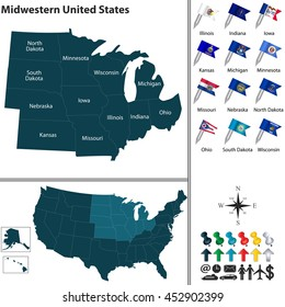 Vector set of Midwestern United States with flags and map on white background