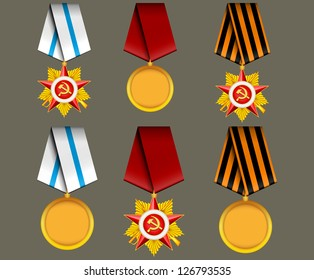 vector set of military medals, related to 23 February  and Victory Day