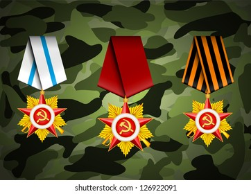 vector set of military medals, related to 23 of February and Victory Day