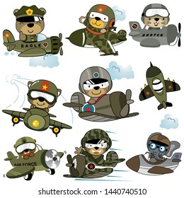 Vector set of military planes with funny pilot