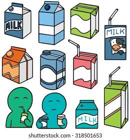 vector set of milk box