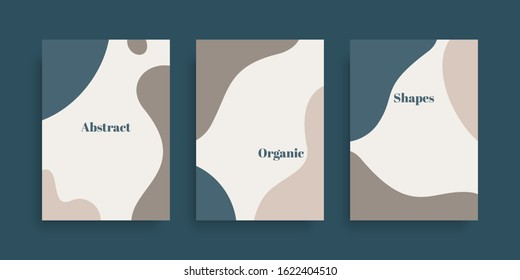 Vector set of minimal  backgrounds with abstract organic shapes and sample text. Contemporary collage. Design for posters, flyers, greeting cards, packaging, branding and wedding invitations