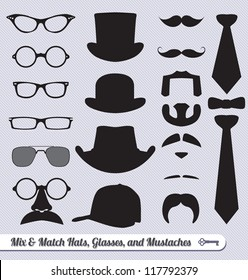 Vector Set: Mix and Match Mustache Glasses Hats and Ties