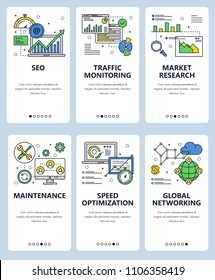 Vector set of mobile app onboarding screens. SEO, Traffic monitoring, Market research, Maintenance, Speed optimization, Global networking web templates and banners. Thin line art style design icons.