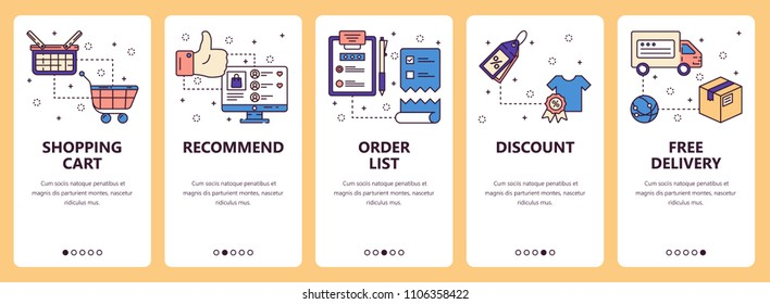 Vector set of mobile app onboarding screens. Shopping cart, Recommend, Order list, Discount, Free delivery web templates and banners. Thin line art style design icons for website menu.