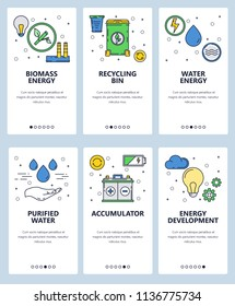 Vector set of mobile app onboarding screens. Biomass energy, Recycling bin, Water energy, Purified water, Accumulator, Energy development web templates and banners. Thin line art style design icons.