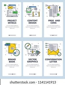 Vector set of mobile app onboarding screens. Project details, Content design, Pros and Cons, Brand book, Vector graphics, Confirmation letter web templates, banners. Thin line art style design icons.