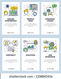 Vector set of mobile app onboarding screens. Online conference, Profile page, Strategic vision, Contract, Solution, Job interview web templates and banners. Thin line art flat icons for website menu.
