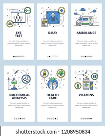 Vector set of mobile app onboarding screens. Eye test, X-ray, Ambulance, Biochemical analysis, Health care, Vitamins web templates, banners. Thin line art flat icons for website menu.