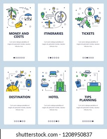 Vector set of mobile app onboarding screens. Money and costs, Itineraries, Tickets, Destination, Hotel, Tips planning web templates, banners. Thin line art flat icons for website menu.
