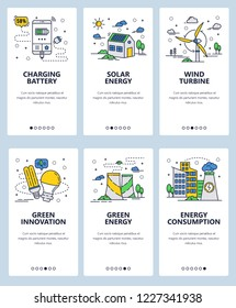 Vector set of mobile app onboarding screens. Charging battery, Solar energy, Wind turbine, Green innovation, Green energy, Energy consumption web templates, banners. Thin line art flat icons for web.