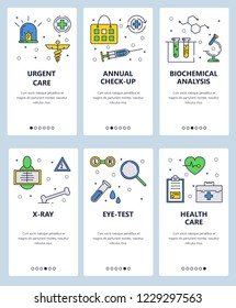 Vector set of mobile app onboarding screens. Urgent care, Annual check-up, Biochemical analysis, X-ray, Eye-test, Health care web templates and banners. Thin line art flat icons for website menu.