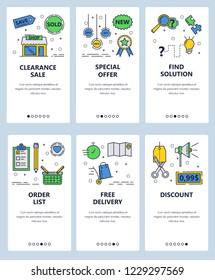 Vector set of mobile app onboarding screens. Clearance sale, Special offer, Find solution, Order list, Free delivery, Discount web templates and banners. Thin line art flat icons for website menu.