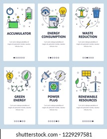 Vector set of mobile app onboarding screens. Accumulator, Energy consumption, Waste reduction, Green energy, Power plug, Renewable resources web templates, banners. Thin line art flat icons for web.