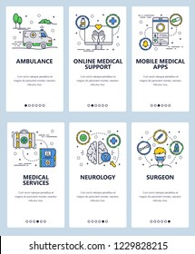 Vector set of mobile app onboarding screens. Ambulance, Online medical support, Mobile medical apps, Medical services, Neurology, Surgeon web templates, banners. Thin line art flat icons for web.