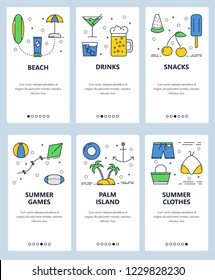 Vector set of mobile app onboarding screens. Beach, Drinks, Snacks, Summer games, Palm island, Summer clothes web templates and banners. Thin line art flat icons for website menu.