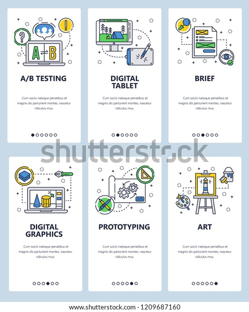 Vector Set Mobile App Onboarding Screens Stock Vector (Royalty Free