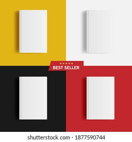 Vector Set Mockup Of Blank Hardcover Books On Yellow, White, Black And Red Background. Best Seller Text And Five Pointed Stars. Template And Graphic Resources For Your Design. Illustration EPS10