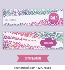 Vector set of modern banners broken tille mosaic for promotion, site, identity. EPS10