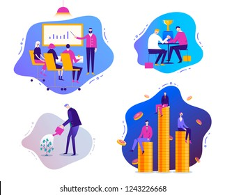 Vector set of modern business illustrations with liquid background. Trendy style. Business training, money growth, compatition, financial growh