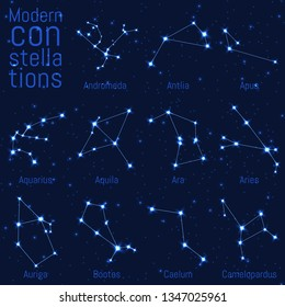 vector set of modern constellations. bright stars on a starry sky. realistic image of celestial bodies. Andromeda, Antlia, Apus, Aquarius, Aquila, Ara, Aries, Auriga, Bootes, Caelum, Camelopardus