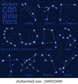 vector set of modern constellations. bright stars and lines on a starry sky. realistic image of celestial bodies. Columba, Coma Berenices, Corona Australis, Corona Borealis, Corvus, Crater, Crux,