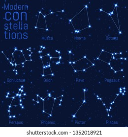 vector set of modern constellations. bright stars and lines on starry sky. realistic image of celestial bodies. Musca, Norma, Octans, Ophiuchus, Orion, Pavo, Pegasus, Perseus, Phoenix, Pictor, Pisces