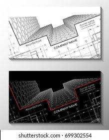 Vector set of modern creative business cards for architect. 3D architectural background for banner, booklet, poster.